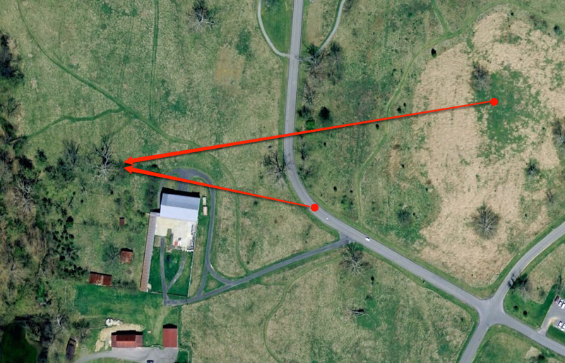 We've zoomed in from the prior photo. The next two photos were taken from two locations just to the east of the eagle's tree. The two red arrows above point towards the tree from the locations of these two photos.