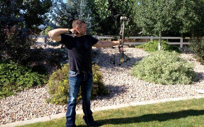 Jason Carter takes a practice shot with his new Hoyt bow. 'Love the new Hoyt!! Less than a month away!' (Courtesy Ridge Reaper)