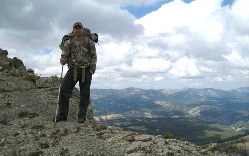 Jason Carter has found a high spot with a spectacular view in Wyoming on a scouting excursion. (Courtesy Ridge Reaper)